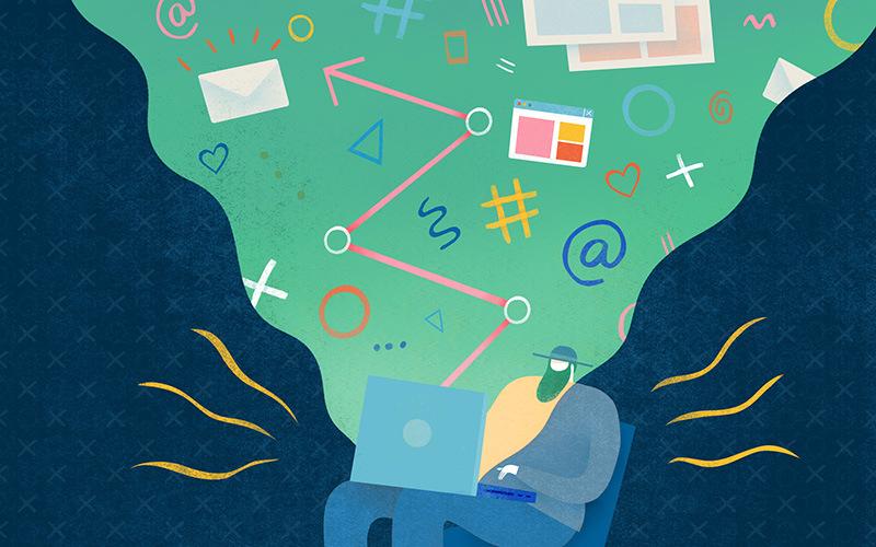 Illustration of man on laptop using various tools