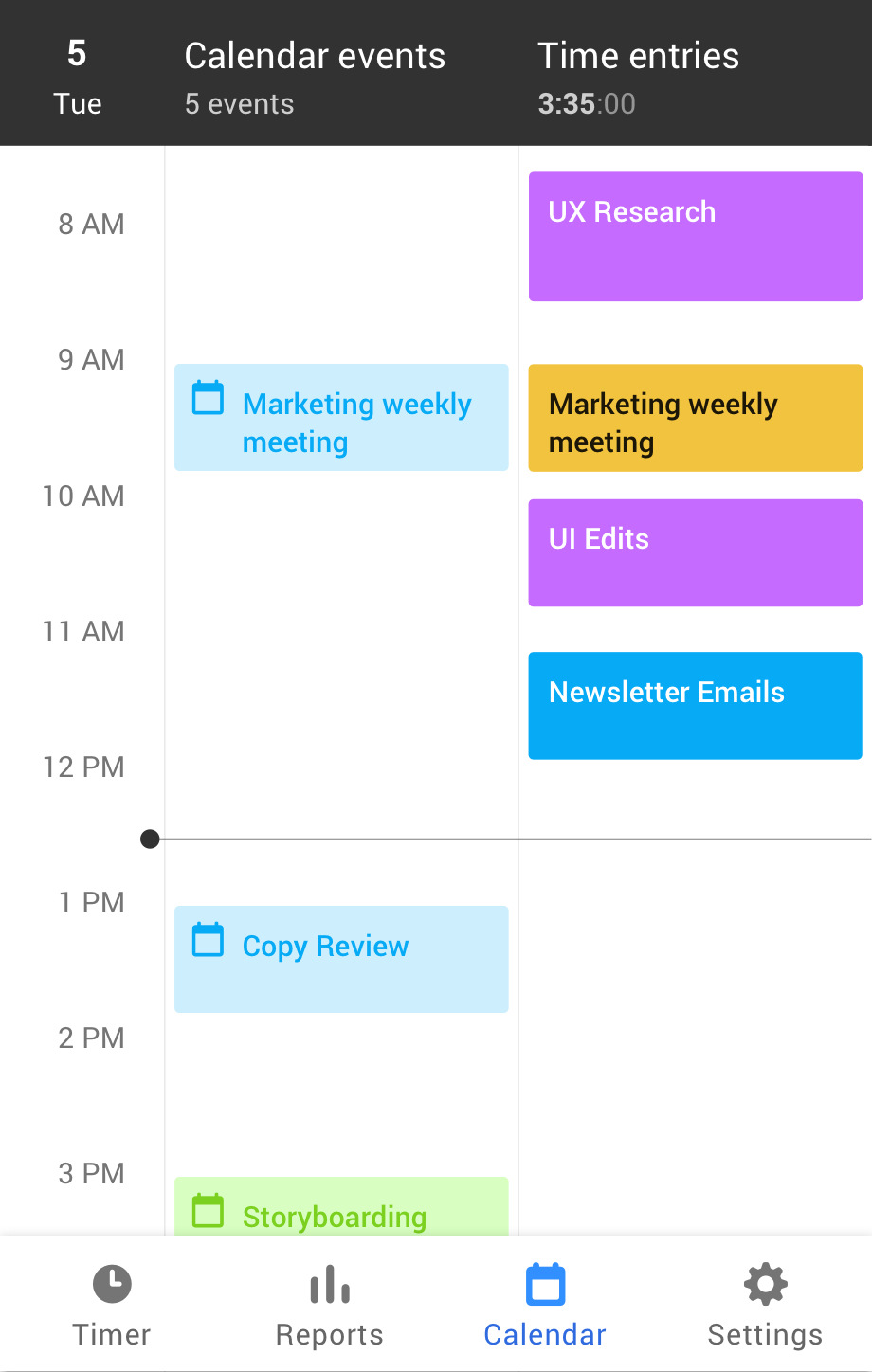 Toggl Track Android calendar screen