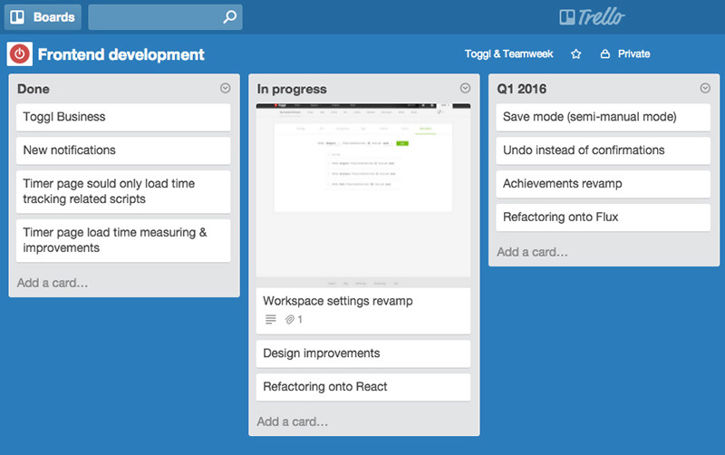 Agile development workflow in Trello