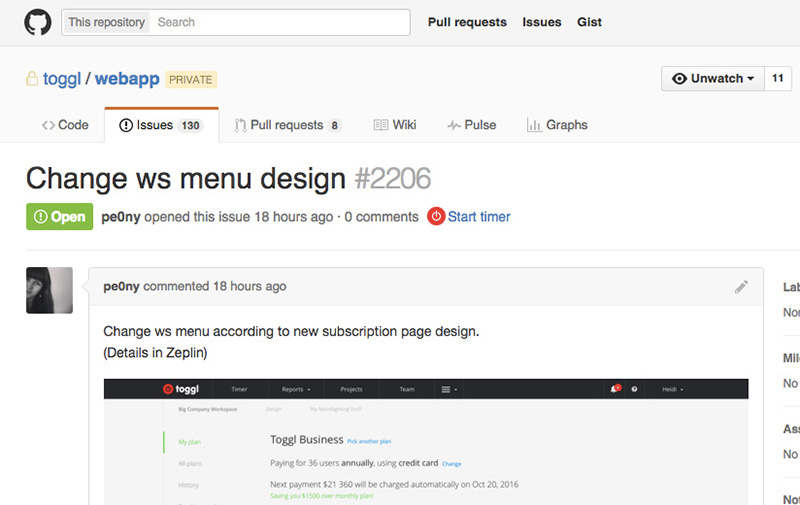 GitHub issue view