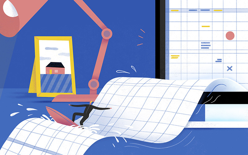 Illustration of man working on spreadsheets