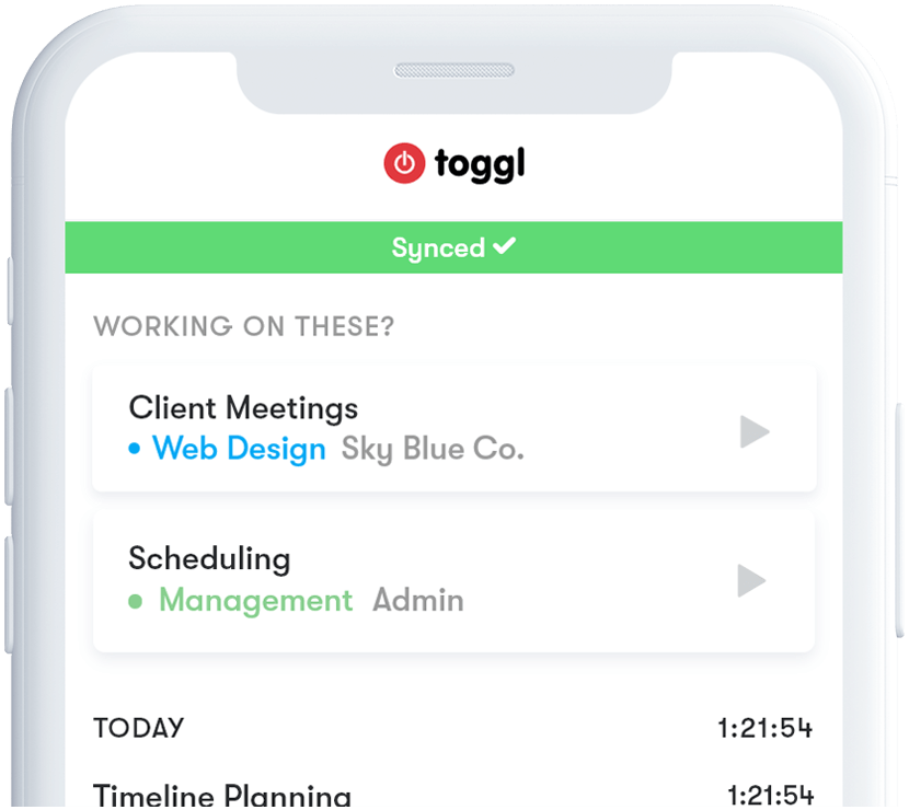Toggl Track iOS app