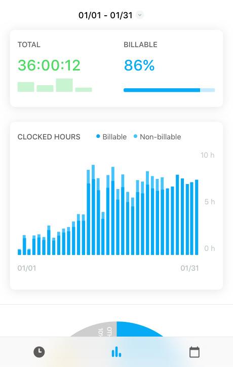 Toggl Track iOS reports screen