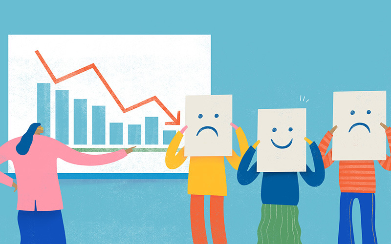 Illustration of woman presenting a declining graph