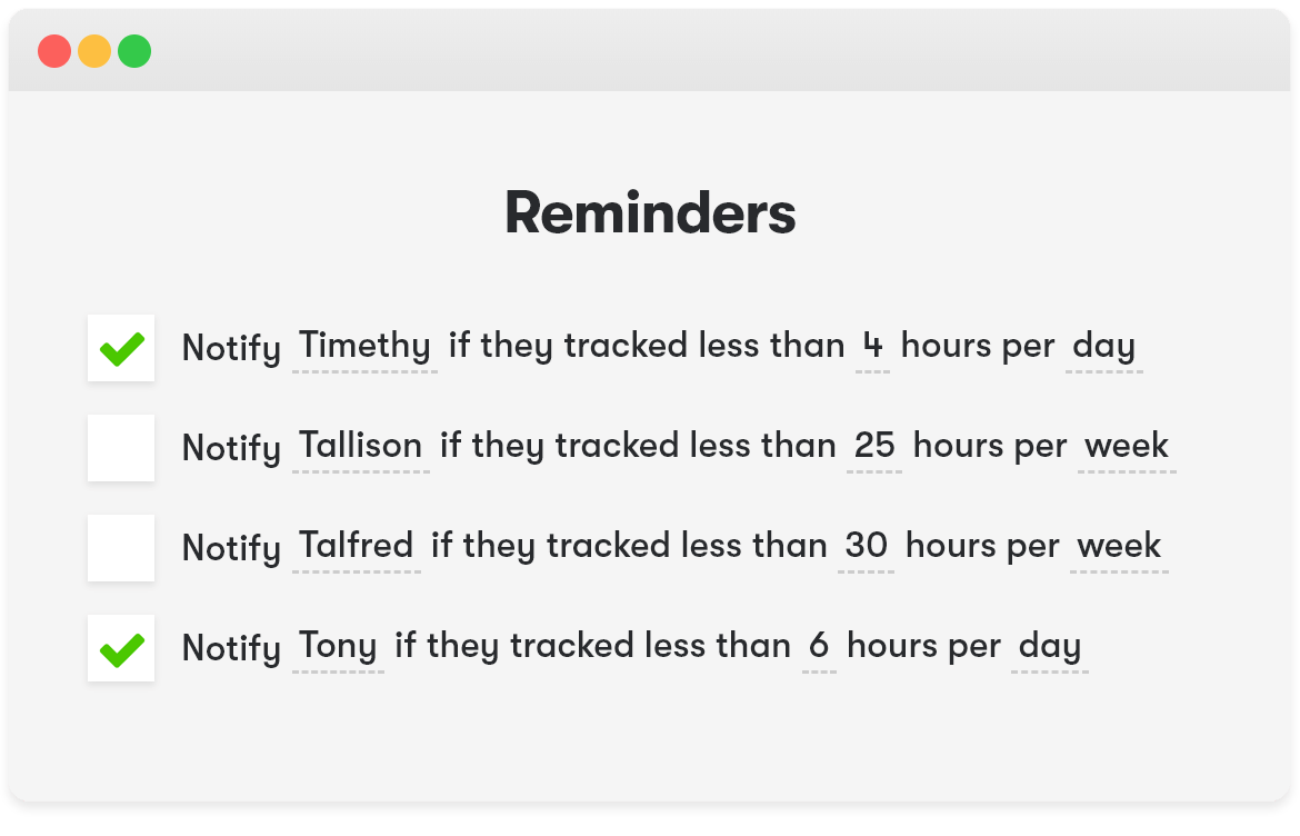 Toggl Track email reminders and time audits