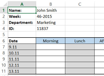 Defining categories for timesheets