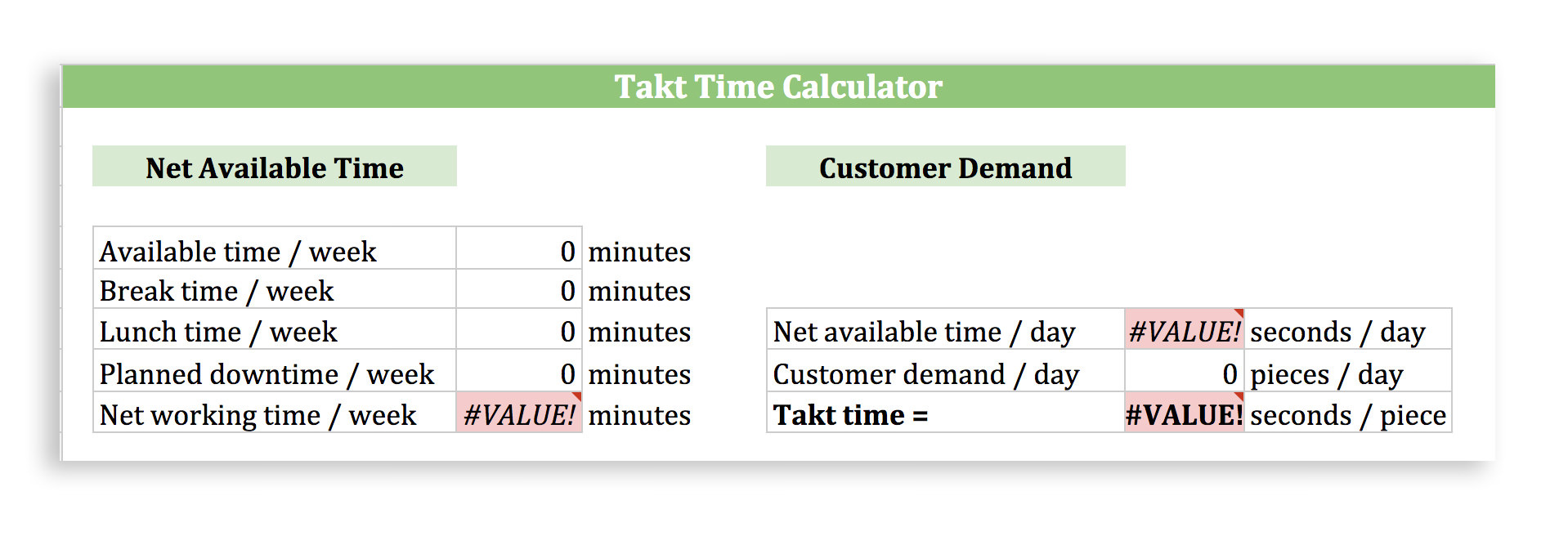 Takt Time Calculator