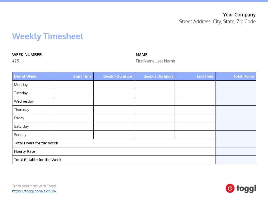 free pdf timesheet templates