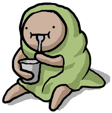 Character in a burrito blanket