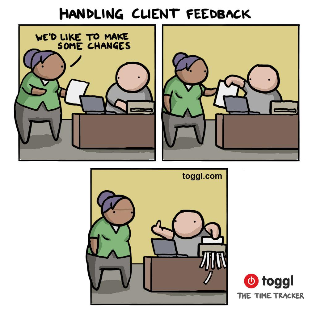 Handling Client Feedback Comic