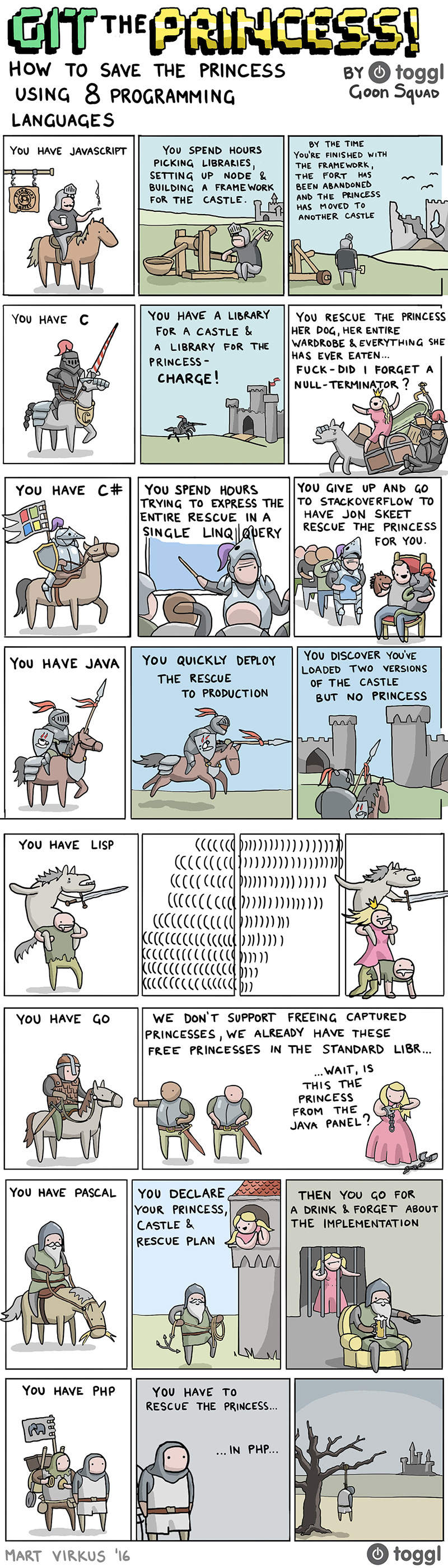 How to save the princess in 8 programming languages