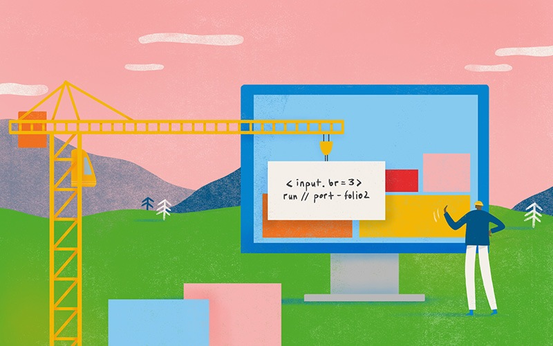 Illustration of man overlooking construction of a web page