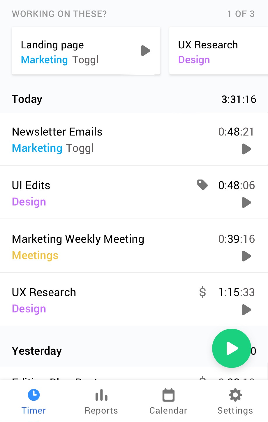 Toggl Track Android timer screen
