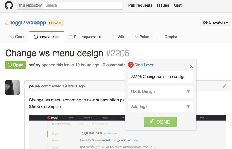 Toggl Track integration with GitHub
