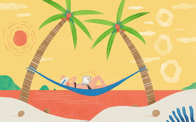 Illustration of woman working on laptoo at the beach