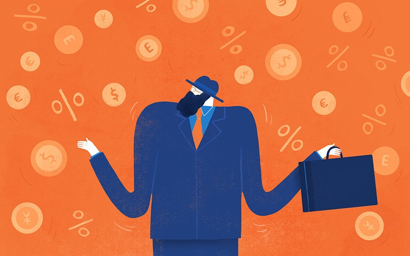 Illustration of businessman and numbers