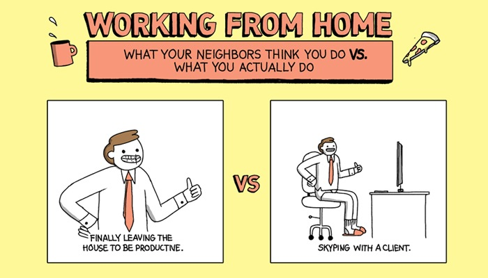 Working From Home: What Your Neighbors Think You Do Vs What You Actually Do