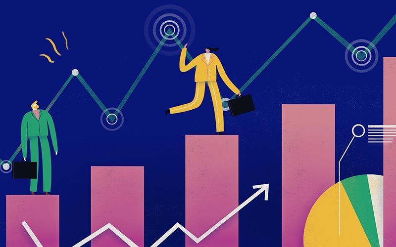 Illustration of businessmen standing on graphs
