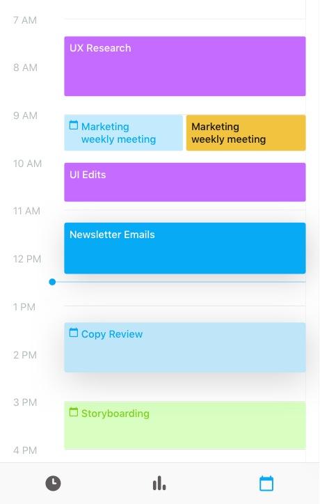 Toggl Track iOS calendar screen