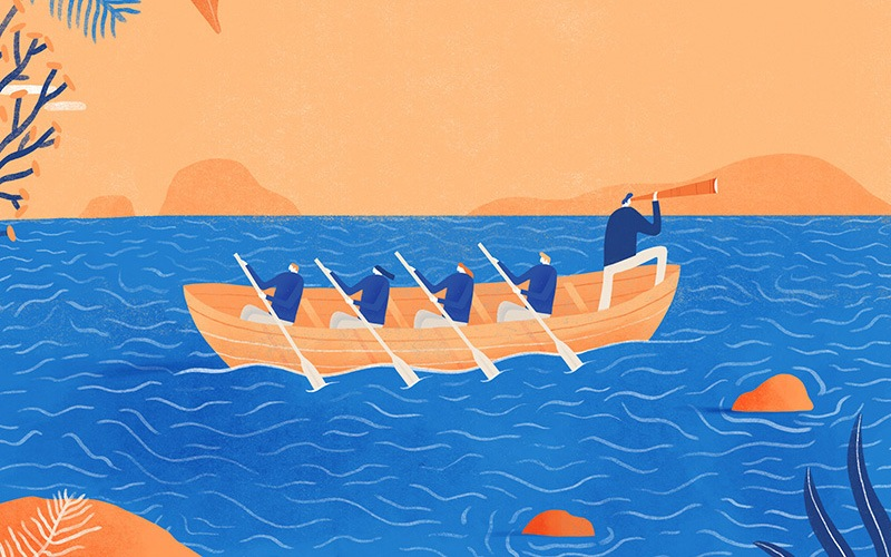 Illustration of people rowing a boat
