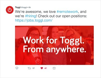 Toggl Track job ad on Twitter