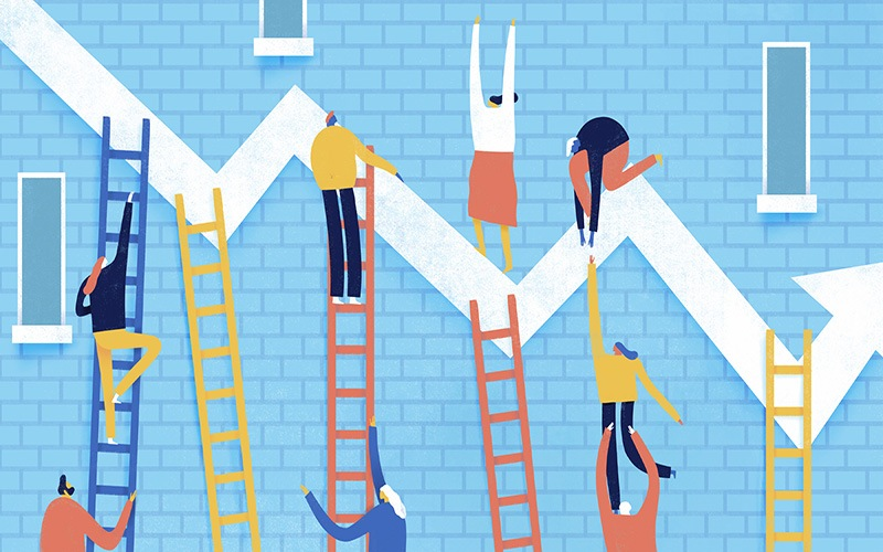 Illustration of characters climbing ladders