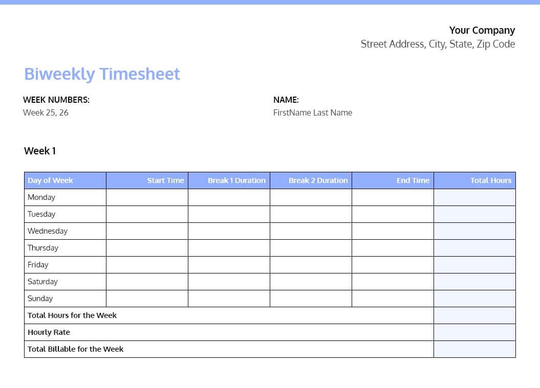 Free Microsoft Word Timesheet Templates
