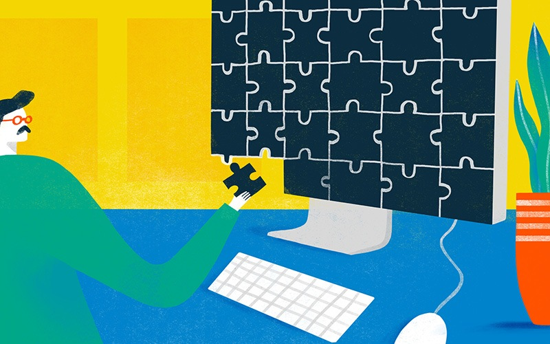 Illustration of fixing a puzzle that is also his computer screen