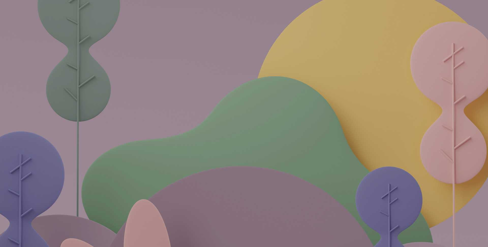Abstract rendering of a forest in greens and purples against a purple sky with a large yellow sun, representing calm and work life balance