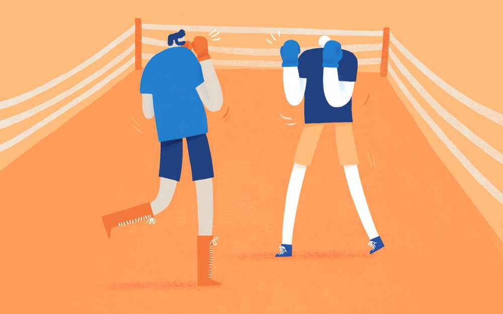 Illustration of two employees in a boxing ring