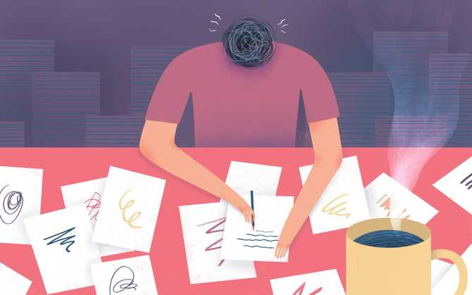 Illustration of someone writing with papers all over the table