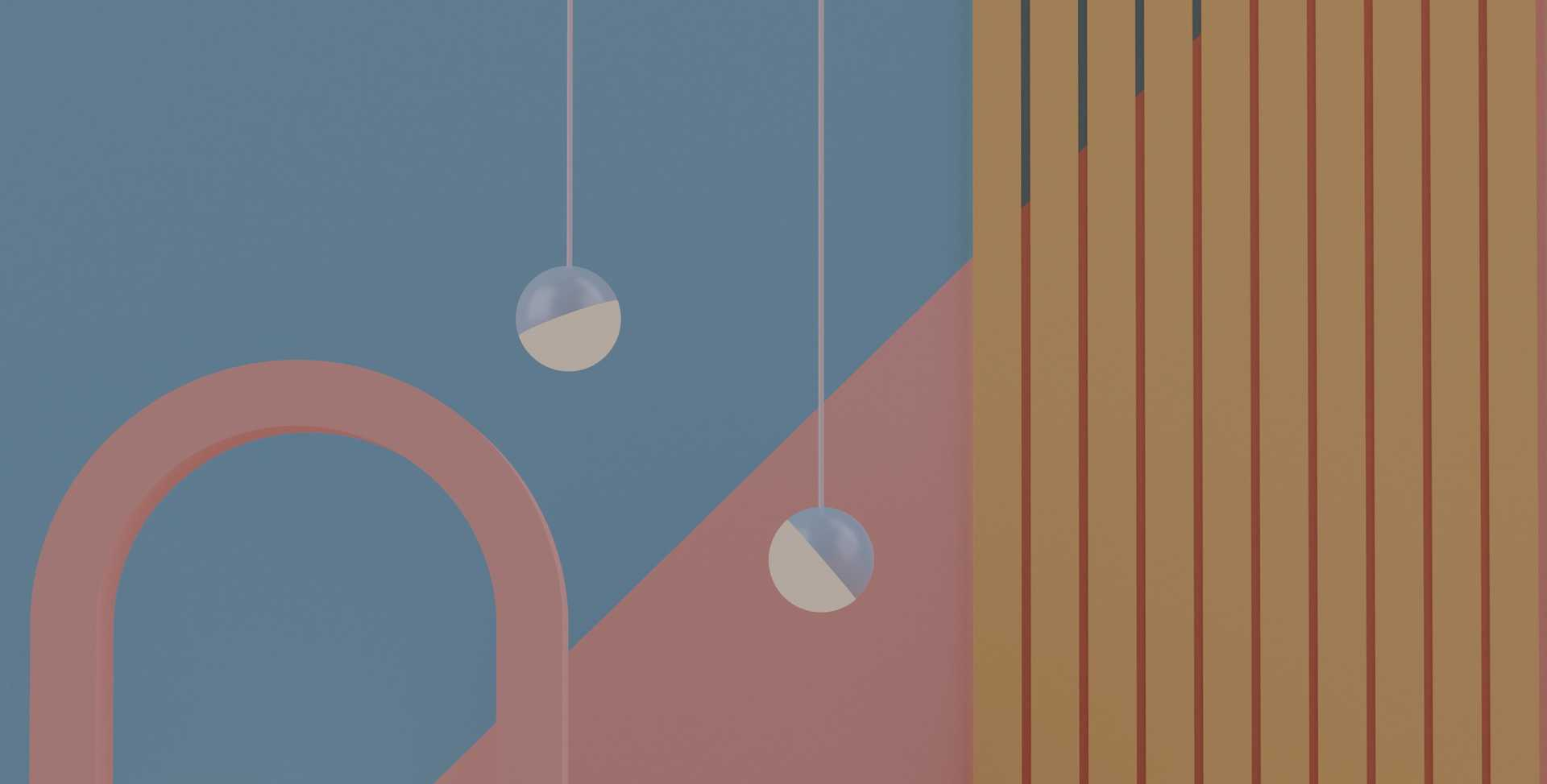 Abstract image in slate blue, desert pink, and yellow shapes