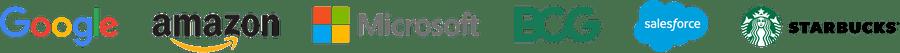 Company logos: Google, Amazon, Microsoft, BCG, Salesforce, Starbucks