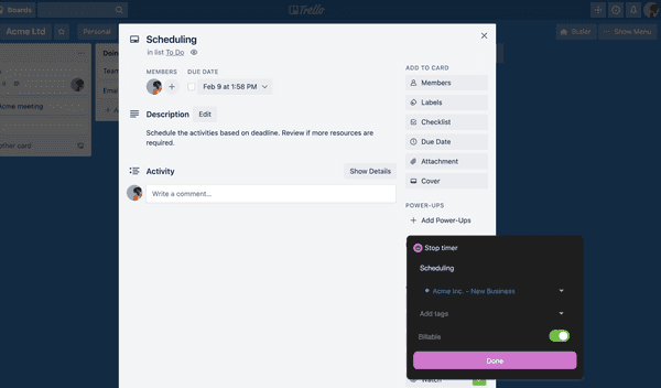 Start the timer in Trello