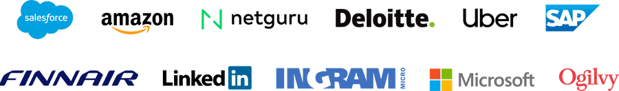 Company logos: Salesforce, Amazon, Netguru, Deloitte, Uber, SAP, Finnair, LinkedIn, Ingram Micro, Microsoft, Ogilvy