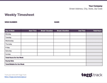 Screenshot of Weekly timesheet
