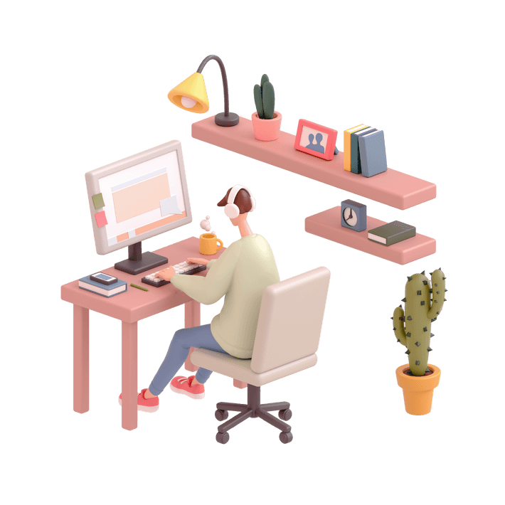 3D illustration of a person wearing headphones sitting at a desk in front of a desktop computer monitor working, surrounded by office accessories, including a shelf with a light, books, and a plant