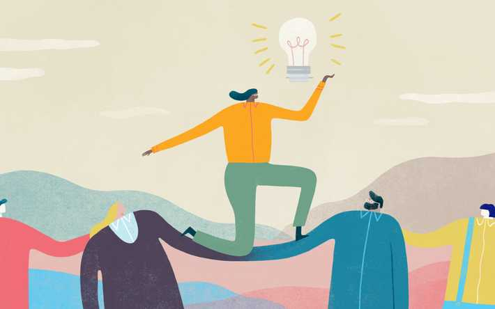 Illustration of employees carrying an employee with a lightbulb on their head