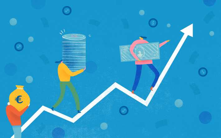 Illustration of people holding money standing on a line chart