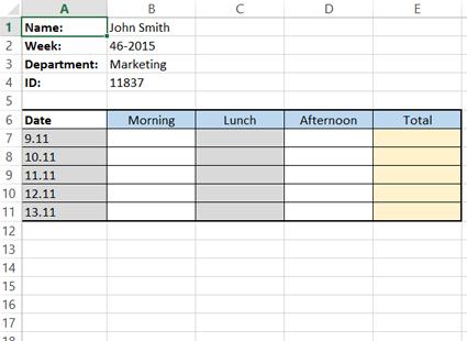 Organizing timesheet into columns