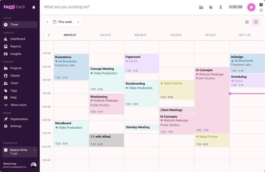 Toggl Track calendar view
