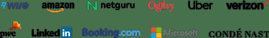 Company logos: Wise, Amazon, Netguru, Ogilvy, Uber, Verizon, PWC, LinkedIn, Booking.com, Microsoft, Conde Nast