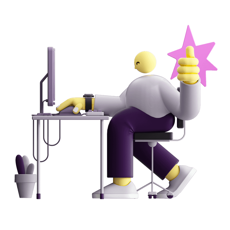 3D illustration of a character working and showing a thumbs-up