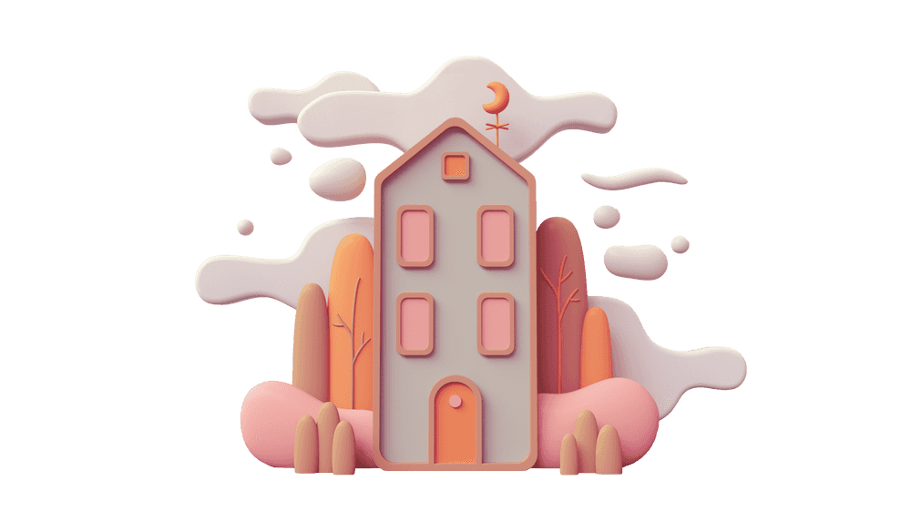 3D illustration of a gray house with pink windows against a backdrop of orange and pink-toned forest and clouds
