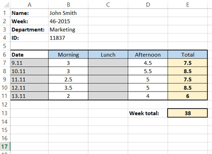 Creating a simple timesheet in MS Excel