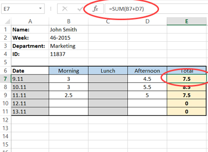 Calculating daily work hours