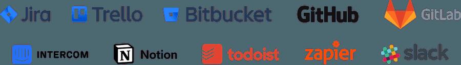 Tools: Jira, Trello, BitBucket, GitHub, GitLab, Intercom, Notion, Todoist, Zapier, Slack