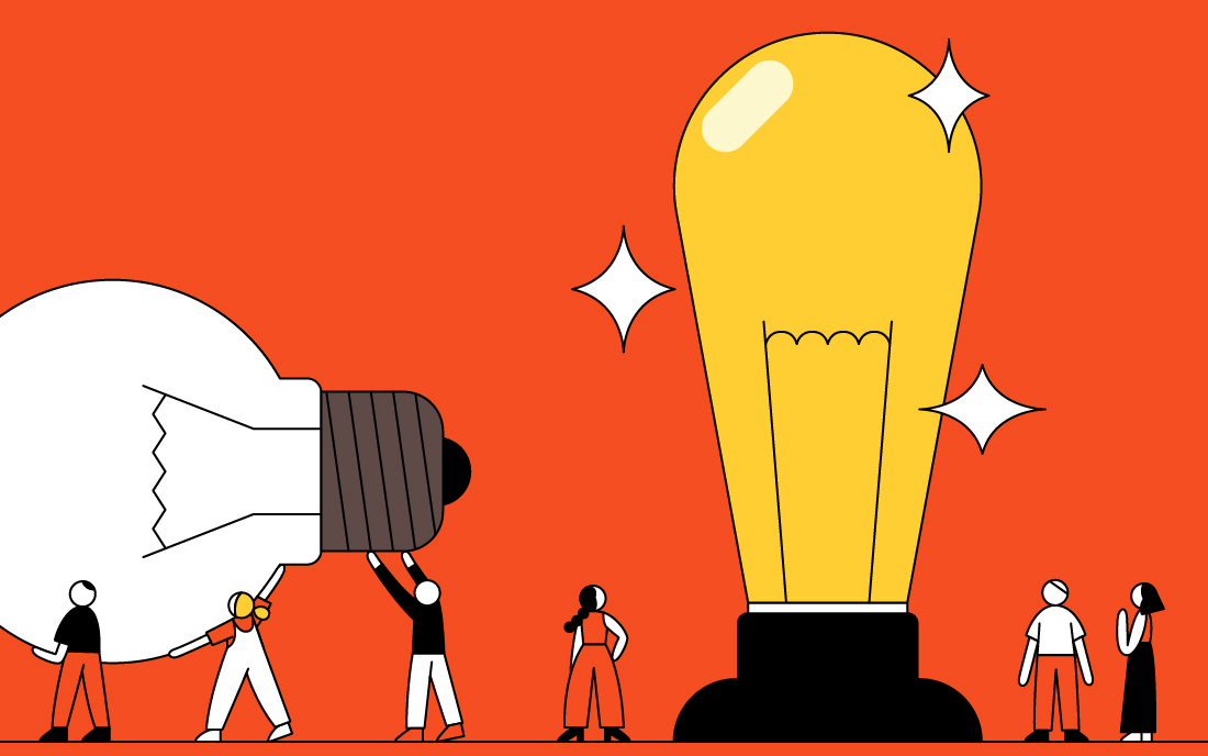 Illustration of team members carrying giant light bulbs