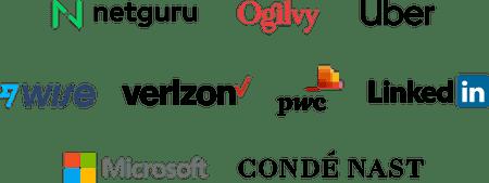 Company logos: Netguru, Ogilvy, Uber, Wise, Verizon, PWC, LinkedIn, Microsoft, Conde Nast