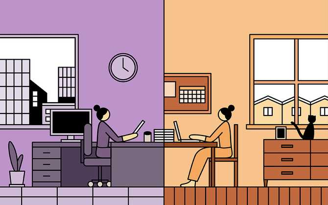 Illustration of two people in different time zones